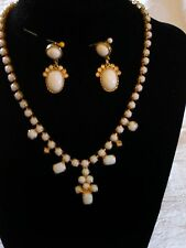 """""""""""WHITE STONES SET IN GOLD NECKLACE & PIERCED EARRING SET"""""""" - VINTAGE"""