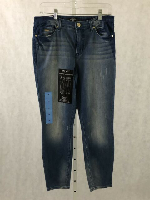 Nwt Womens Nine West Gramercy Skinny Ankle Nouveau Destruction Blue 10 12 Jeans