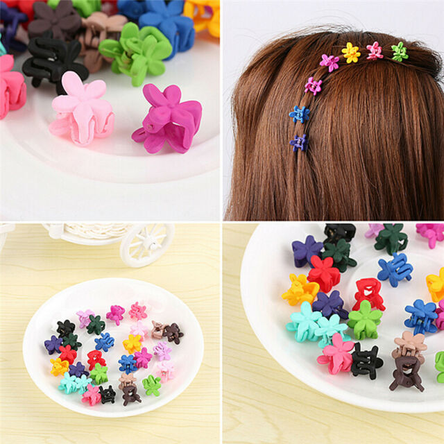 50 PCS Kids Baby Plastic Girls Hairpins Mini Claw Hair Clips Clamp Flower Pip UK