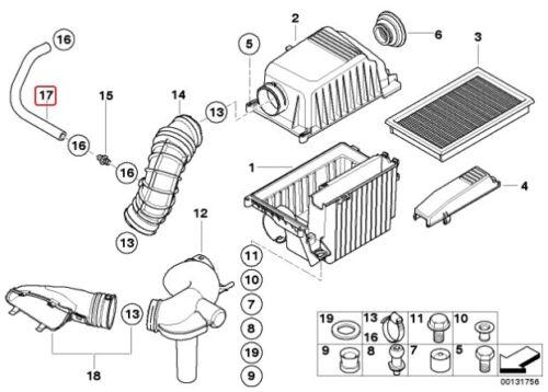 Oil Breather Tube Hose Pipe 1491737 MINI BMW R53 Cooper S Throttle Air Intake