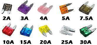 10x Assorted Mini Blade Fuses o//e spec fits SMART 11mmx15mm