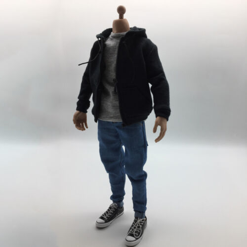 """1:6 Mens Outfits Black Hoodie Tshirt Jeans Shoes Set for 12/"""" Figure Hot Toys"""