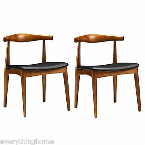 2-WEGNER-ELBOW-STYLE-DINING-CHAIRS-DANISH-MID-CENT-WALNUT-FINISH-SOLID-WOOD-FRME
