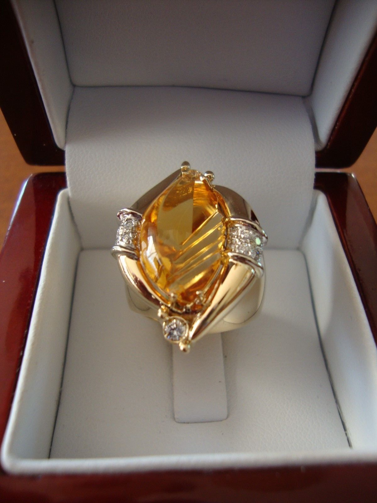 14K YELLOW gold FANCY CUT CITRINE DIAMONDS DESIGNER RING 16.7 GRAMS SIZE 7