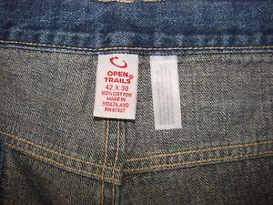 Open-Trails-42x30-Authentic-Stonewashed-Denim-Blue-Jeans-Loose-Fit