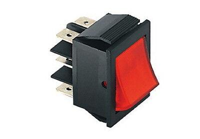 Deviatore bilanciere bipolare luminoso 2 posizioni tasto rosso 250V 15A 125V 20A