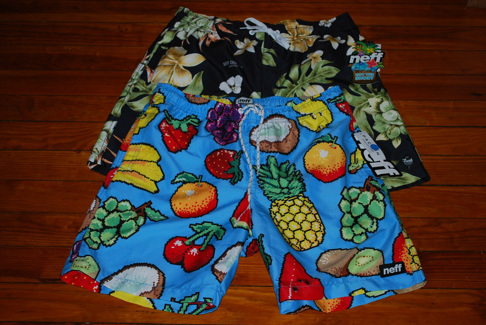 NEW Neff Pixeled Fruits or Dark Floral Swim Board  Hot Tub  Shorts (Large)
