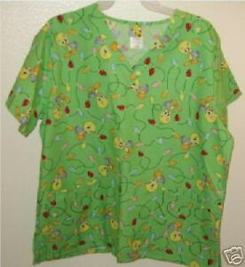 fcc06194f5d Image is loading LOONEY-TUNES-TWEETY-BIRD-SCRUB-UNIFORM-TOP-NWT-