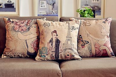 Vintage Country Style Paris Lady Cotton Linen Throw Pillow Case Cushion Cover