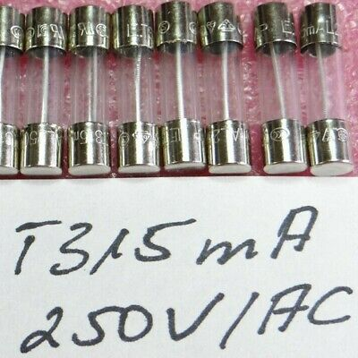 Sicherung Glassicherung T 315mA 250V Träge 5x20mm Feinsicherung 10 Stück