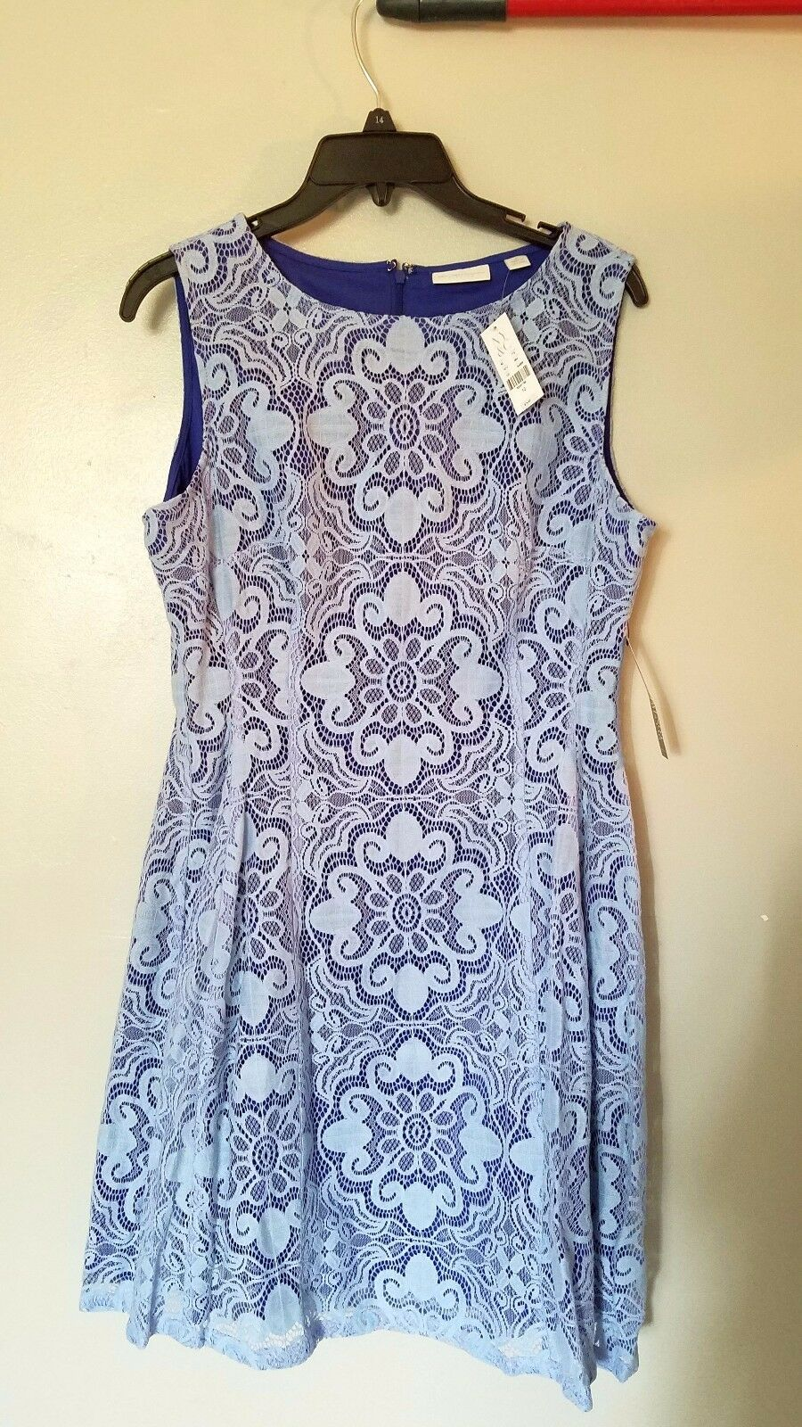 NWT NY&Co women's women's women's light bluee lace overlay over navy dress, size 10, new with tag 78a73c