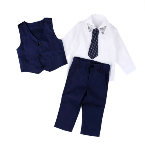 Kid Boy Gentleman Wedding Party Suits Shirt+Waistcoat+Long Pants+Tie Clothes Set