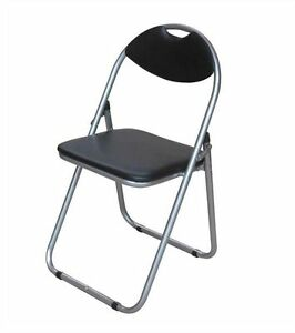 Pleasant Details About Black Faux Leather Folding Chair Padded Seat Back Rest Computer Office Chairs Pabps2019 Chair Design Images Pabps2019Com