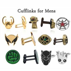 Avengers-Novelty-Luxury-Thanos-glove-Black-Panther-Hulk-Cufflinks-Mens-Jewelry