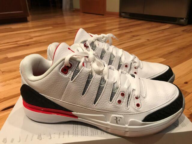 80715f4a52cf Nike Zoom Vapor RF X Aj3 Fire Red Air Jordan 3 III Retro Roger Federer Size  11