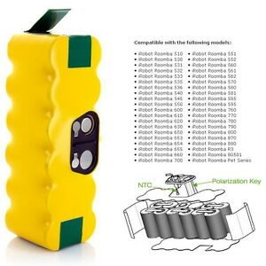 Details about 3 5ah 3500mah Capacity Battery for Irobot Roomba 880 500 510  530 535 545 550 552