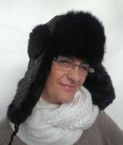 Femmes Tschapka Mcburn Noir kaninchenfell T 56 Hiver Casquette Fellmütze Chaud