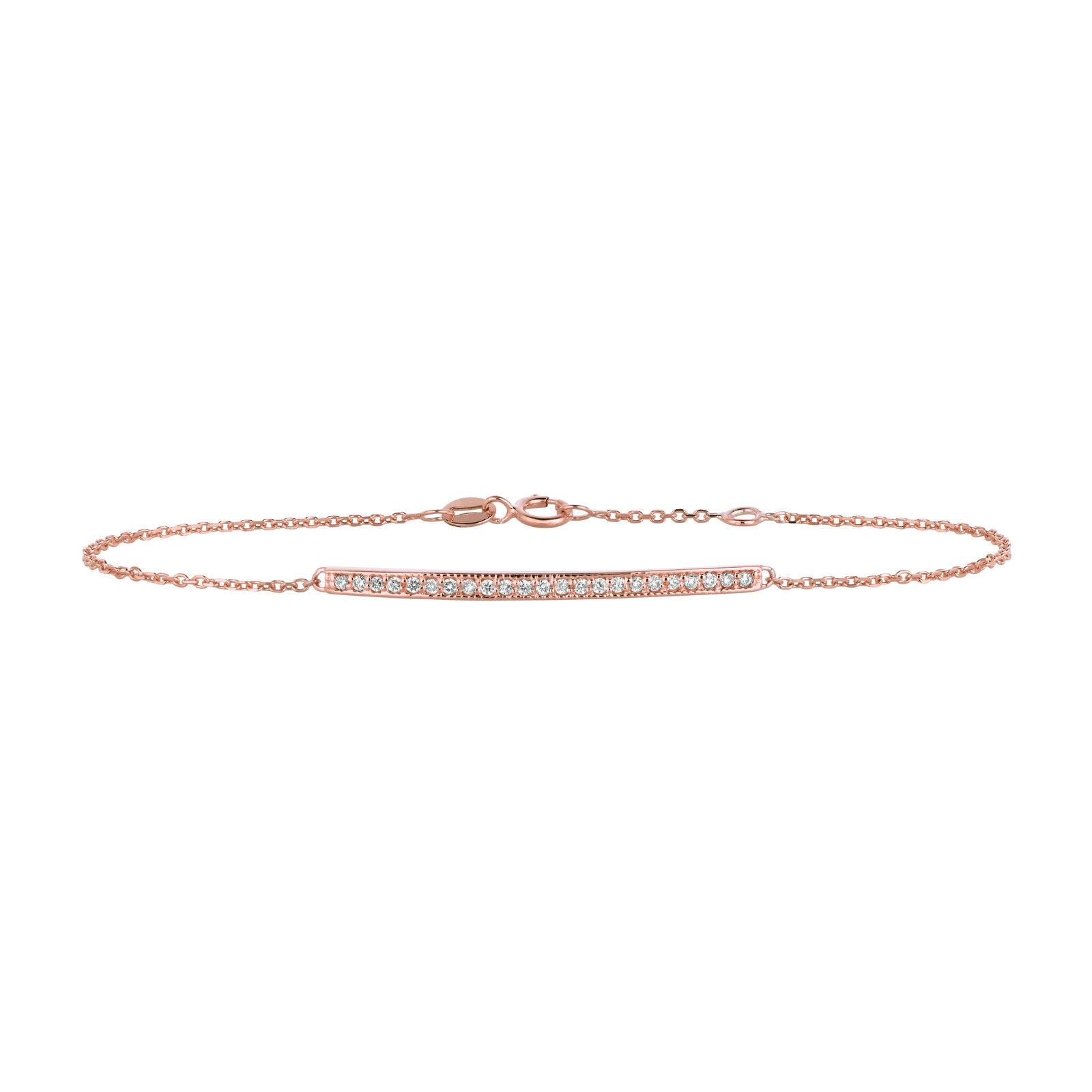 0.20 ct Diamond bar bracelet Set In 14K pink gold B5730PD
