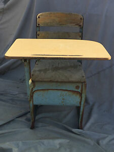 Image Is Loading Collectible Vintage Metal And Wood School Desk Envoy