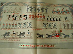 La revue du 14 Juillet Les Pompiers Chasseurs Afrique Espionnage etc Print 1910