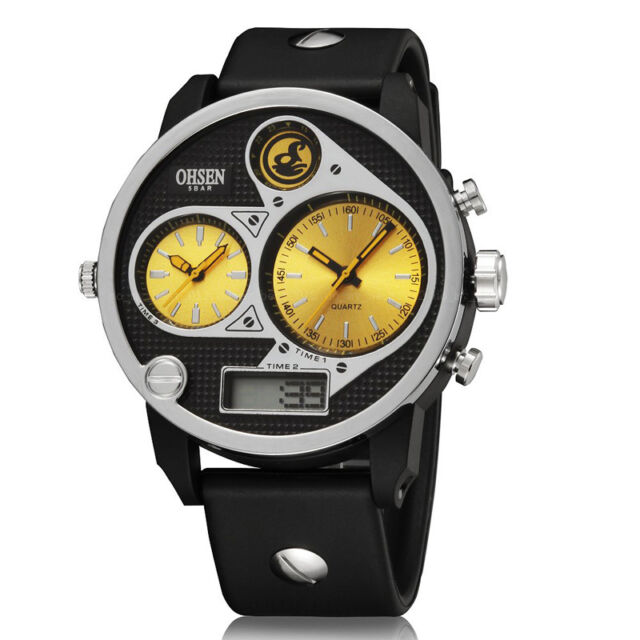 OHSEN Military Army Sport Dual Time Zone Analog Digital Mens Watch Quartz Yellow