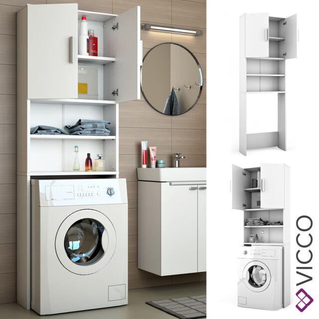 Vicco armario para lavadora armario de baño blanco 190x64 cm estantería de baño