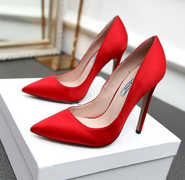 Womens Wedding Prom Dress Lady Lady Lady High Heels Satin Pointy Toe Pumps Stiletto shoes b3ee68