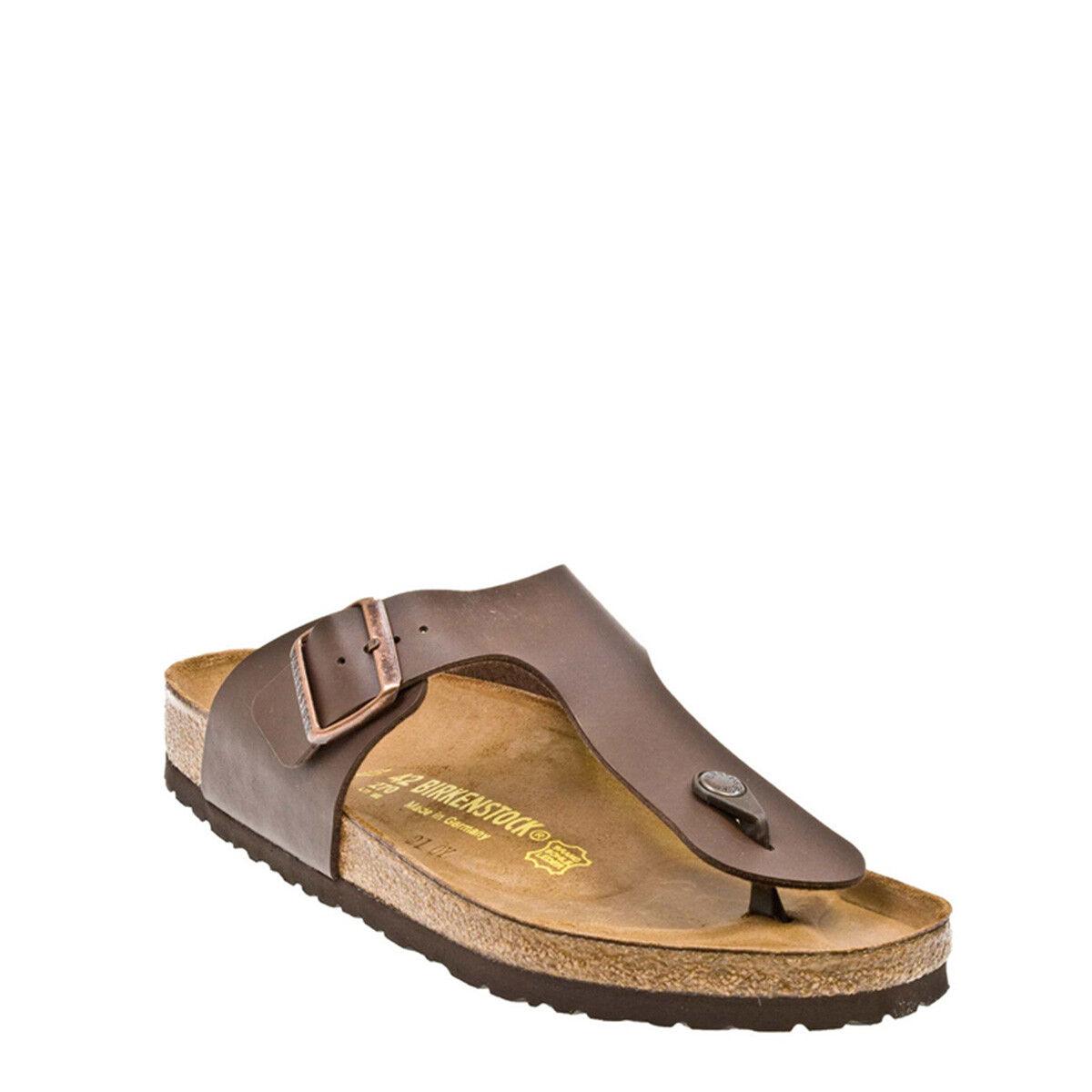 Birkenstock Sandals Ramses Birko-Flor Mens Brown Leather Sandals Birkenstock Toe Post Summer Shoes 1a3ffe
