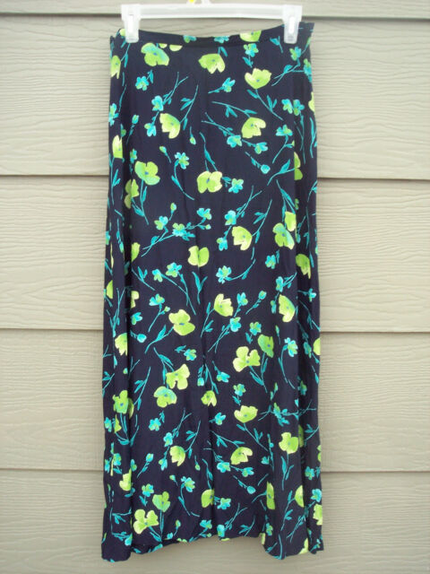 29be038217 Coldwater Creek Womens Long Skirt Sz M 28W Wrinkle Rayon Blue Green Floral