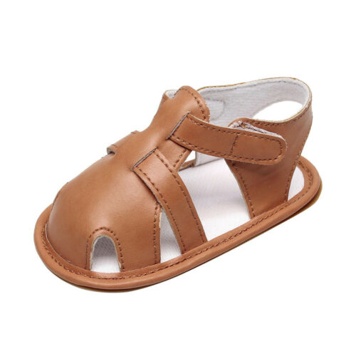 Infant Baby Boys Kid Girls Leather Roman Sole Shoes Summer Sandals First Walkers