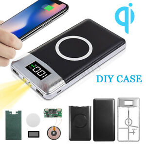 10000mAh-LCD-Qi-Wireless-Power-Bank-Battery-DIY-Case-Flashlight-For-iPhone-XS-X