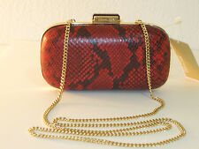 Michael Kors Red Embossed Leather Elsie Dome Clutch Shoulder Bag $228
