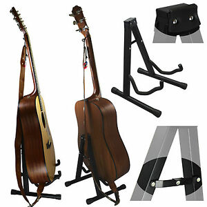 new universal folding a frame guitar stand acoustic bass electric guitars ebay. Black Bedroom Furniture Sets. Home Design Ideas