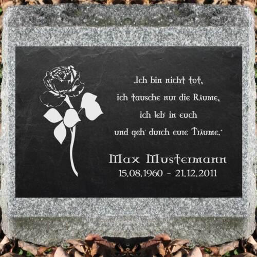 Grabstein Schiefer Stein Grab Tafel mit Rose-002 @ MIT IHREM TEXT @ 50 x 30 cm