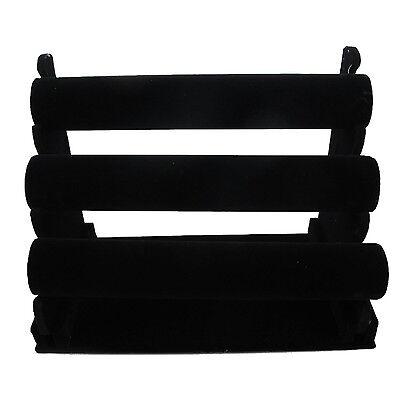 3-Tier Black Velvet Jewelry Bracelet Watch Display Rack Holder - Countertop