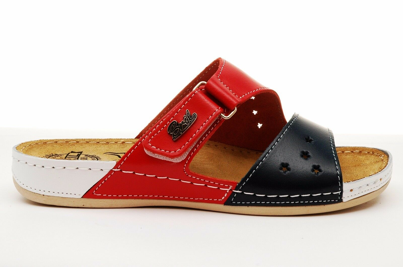 Dr Punto red BRIL Y71 Women Leather Slip On Clogs Sandals bluee-Red-White