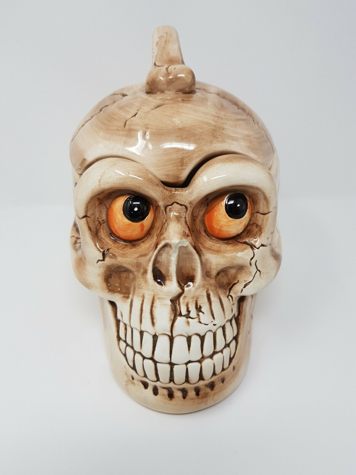 Vintage Enesco Skull Head Cookie Jar Sugar Bowl Mark Cook RARE FUN WEIRD 1990