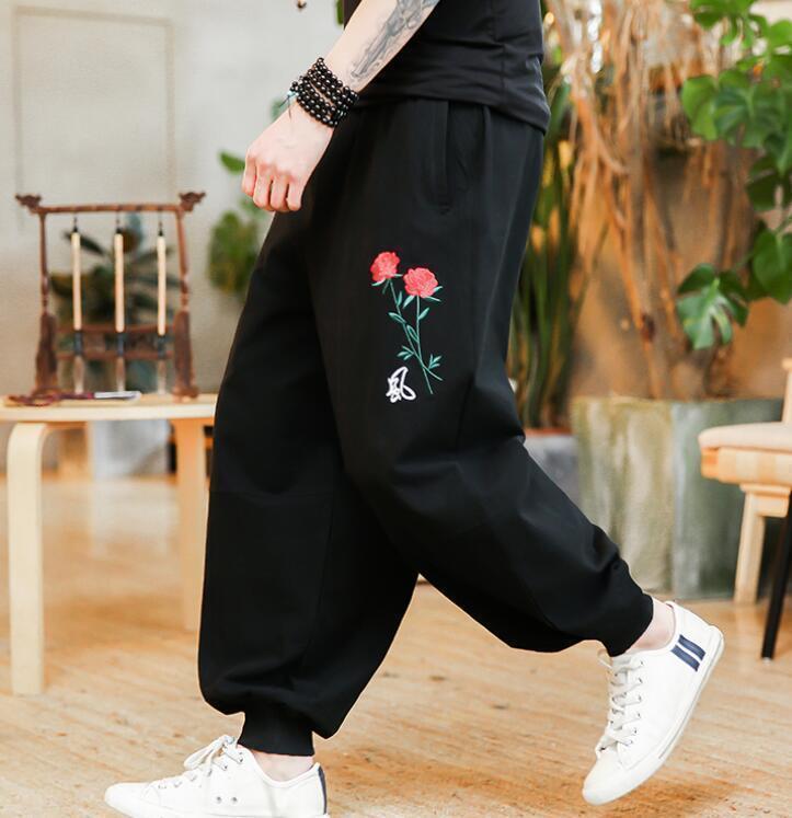 Sz M-5XL Men's Flowers Cotton Linen Embroidery Loose Harem Pants Casual Trousers