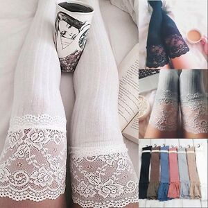 039de95a6d8 Image is loading Women-Knitting-Lace-Cotton-Over-Knee-Thigh-Stockings-