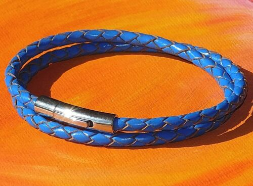 Para Hombre//Damas 4mm azul de cuero trenzado y acero inoxidable pulsera por Lyme Bahía Arte