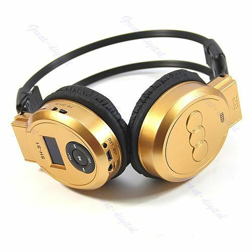 Sport MP3 Player LCD Wireless Foldable Headphone Headset FM Radio TF Card Gold