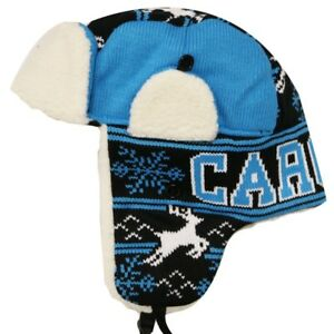 e1a324efb6a CAROLINA Winter Trapper Hat Snow Deer Aviator Knit Fleece Beanie ...
