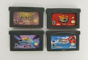 Lot-of-4-Nintendo-GameBoy-Advance-GBA-Video-Bundle-Shrek-Spongebob-Tak-Lit-Einst