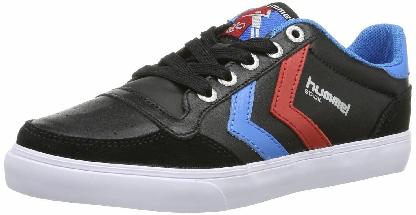 Hummel Slimmer Stadil Black Blue Red Leather Mens Lo Trainers Shoes Boots