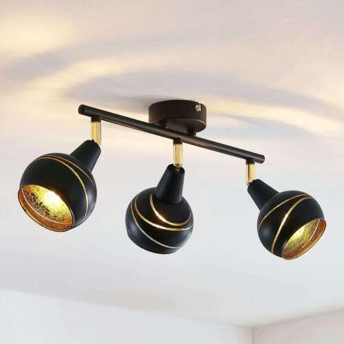 Deckenlampe Lynette 3-flammig E14 Schwarz Gold Strahler Schlafzimmer Lampenwelt