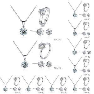 style à la mode chaussures décontractées check-out Détails sur Parure Femme Mariage Bijoux Set Collier Bracelet Boucles  Oreilles Anneau Bague