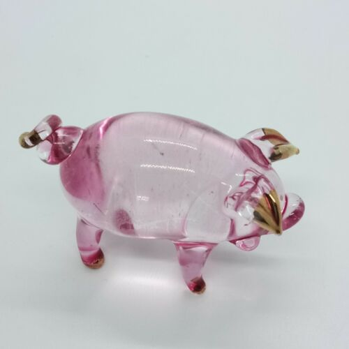 Pig Farm Figurine Glass Animal Cute Hand Blown Art Miniature Pink Home Decor New