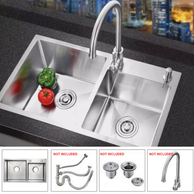 30 X16 Double Bowl Stainless Steel Undermount Mount Kitchen Sink