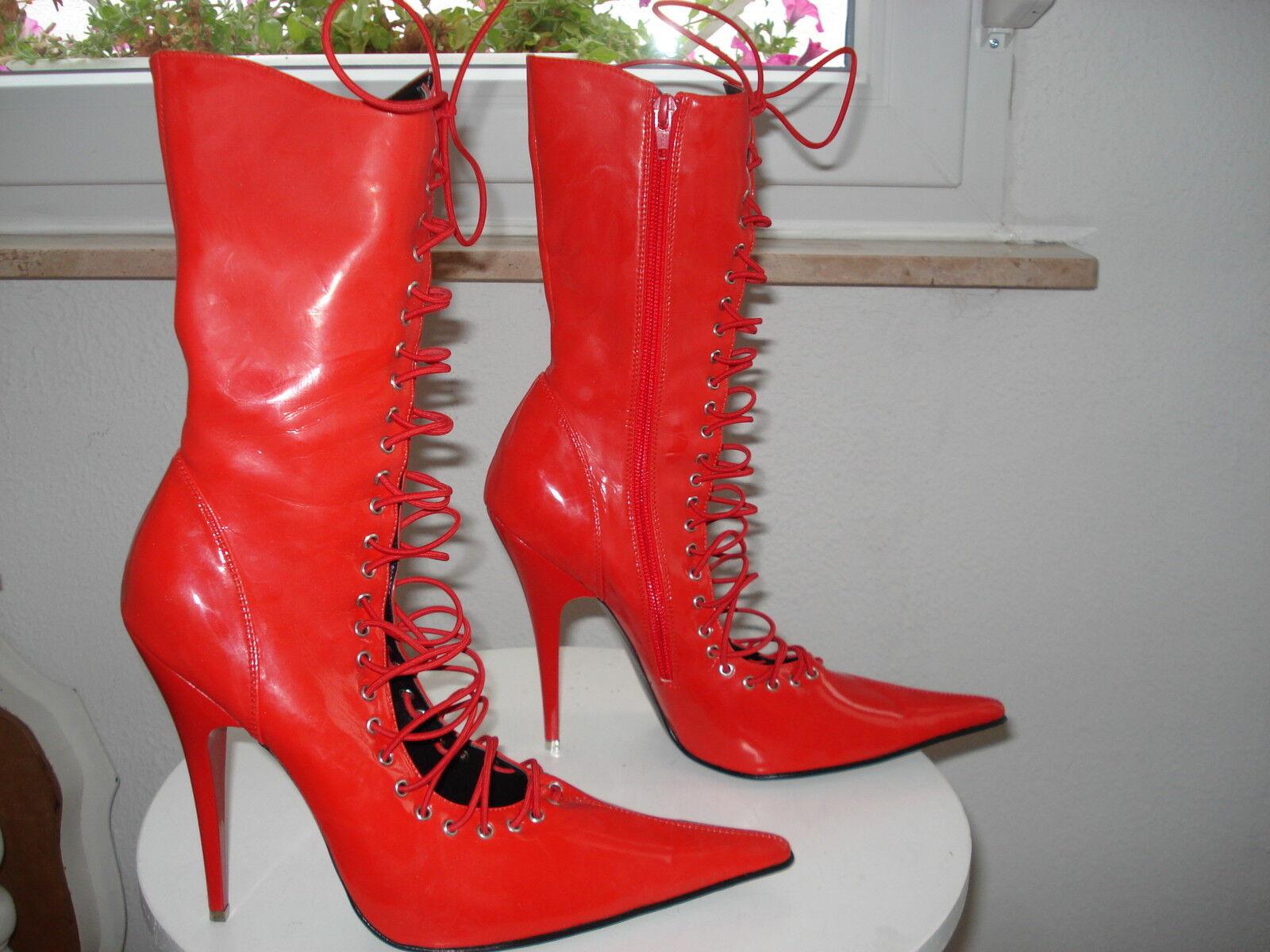 High Heel Stiefelette Stiefelette Stiefelette   Gr. 42 Ledapol Rot lack Metallbeschlag Absatz f80e33