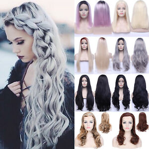381c2f5b1 Image is loading Natural-Synthetic-Hair-Pastel-Ombre-Grey-Full-Wigs-